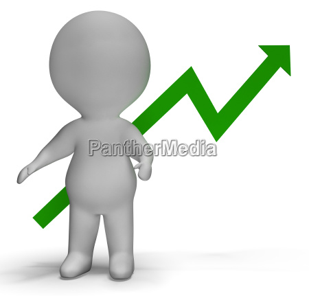 profit increase graph and 3d character