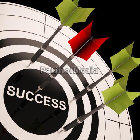 success on dartboard shows successful goals