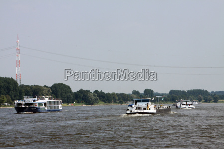 cargo ships on the rhine at