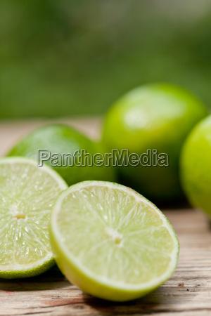 fresh green lime macro in summer