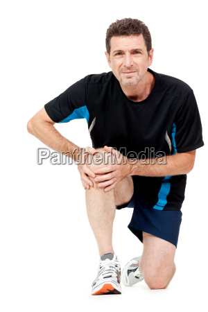 adult one in sportswear and knee