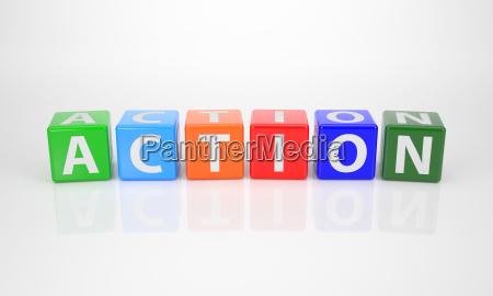 action out of multicolored letter dices
