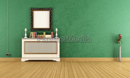 empty green vintage living room