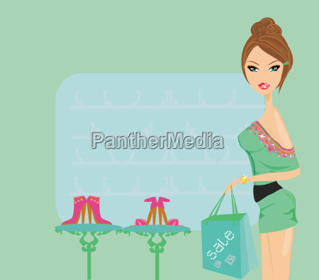 fashion girl shopping in shoe shop