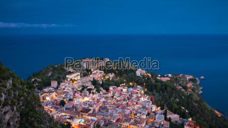 panorama of taormina during the blue