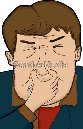 man holding nose
