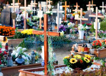 graveyard with many wooden crosses