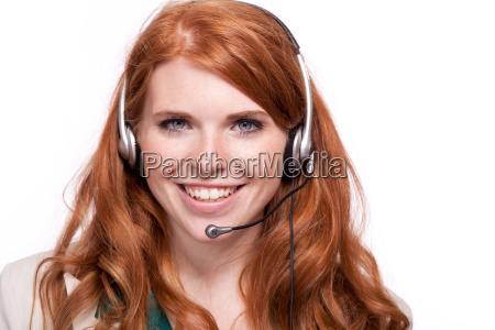 young cheerful businesswoman with headset isolated