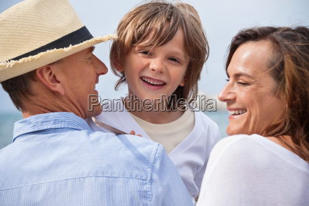 happy family with children in summer