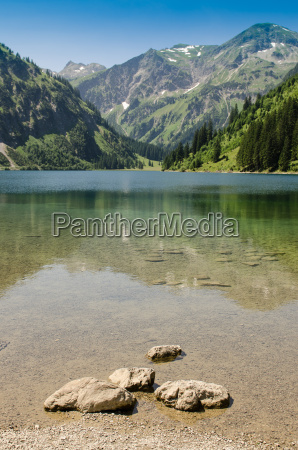 stone in the lake and mountain
