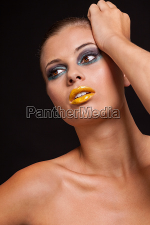 young attractive woman with yellow lipstick