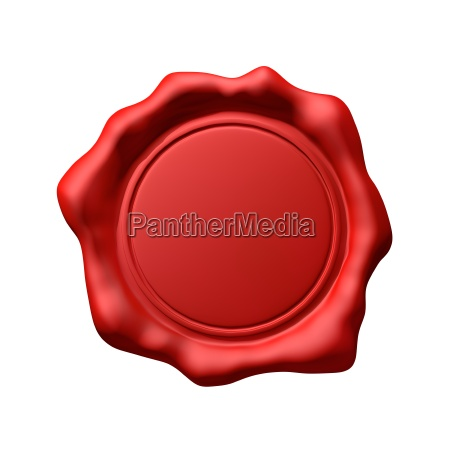 red wax seal 3 isolated