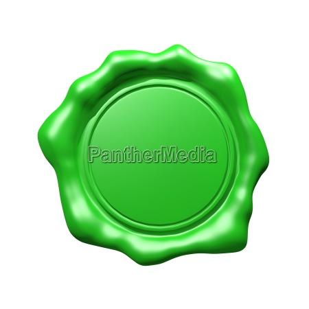 green wax seal isolated