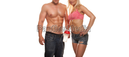 muscular sexy couple working out