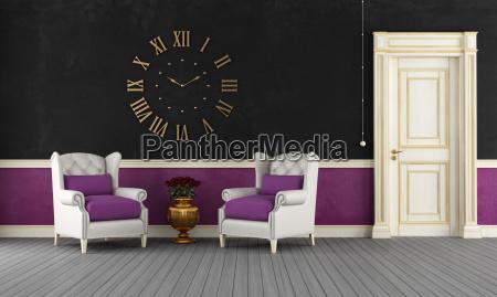 black and purple vintage room