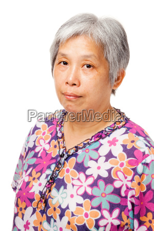elderly asian woman isolated on white