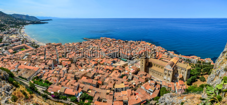 panoramic view of village cefalu and