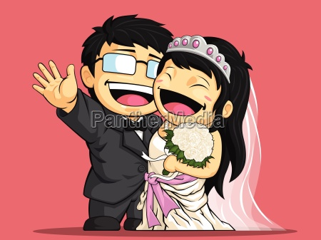 cartoon of happy wedding bride