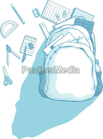 school bag with school supplies scattered