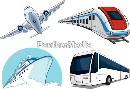 travel transportation set airplane