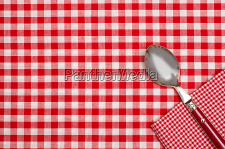 tablecloth with checkers and napkin with