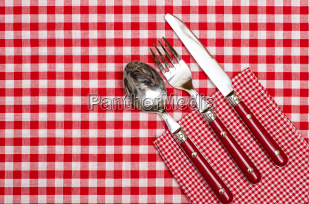 cutlery red knife fork and spoon