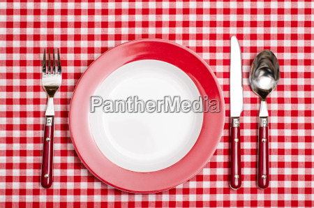 red place setting in the restaurant