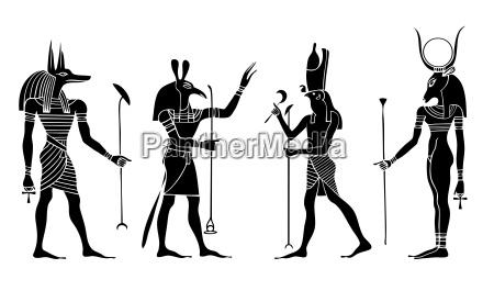 egyptian gods and goddess vector