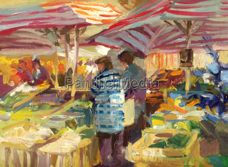 wochenmarkt painting oil colors