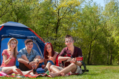 youth on a camping having a