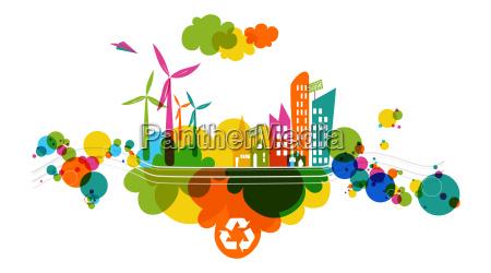 go green transparent colorful city