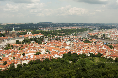 view from petrin lookout tower prague