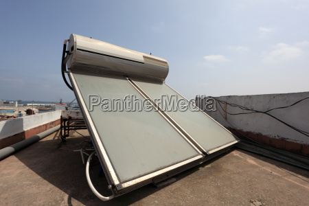 solar water heater on the roof