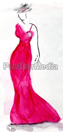 long pink evening dress of 30th