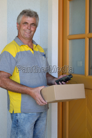 postman with a package