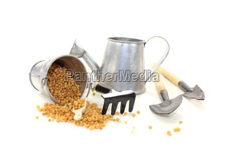 fertilizer with gardening tools