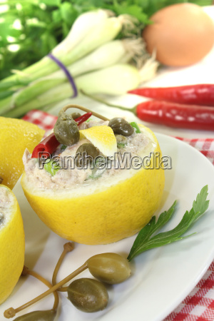 filled with lemon cream and tuna
