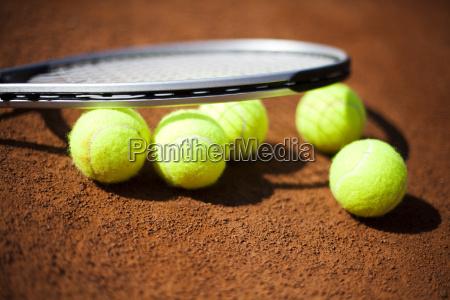 sport tennis racket and balls