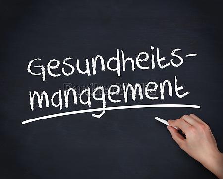 hand writing german words gesundheits management