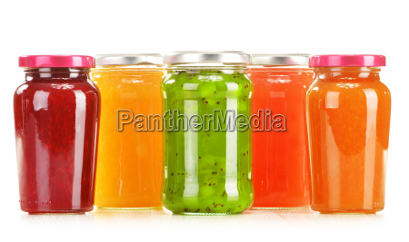 jars of fruity jams isolated on
