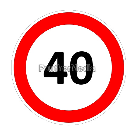 40 speed sign