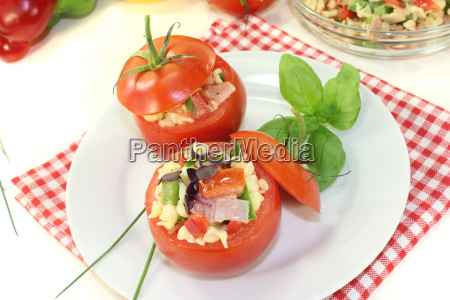 stuffed tomatoes with pasta salad and