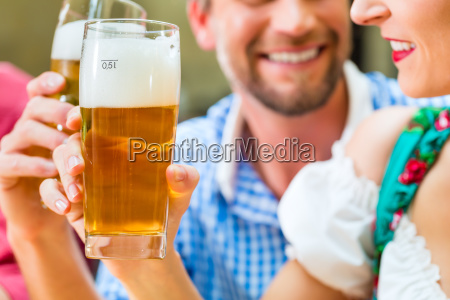 couple in bavarian costume in an