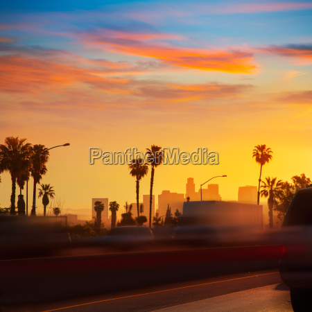 la los angeles sunset skyline with