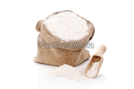 flour in burlap bag