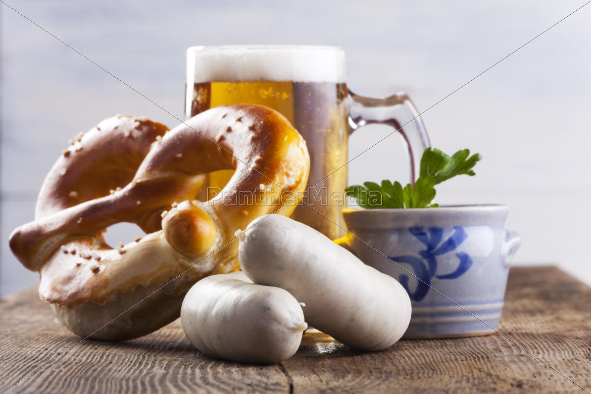 bavarian, weisswurst, mit, bretzel, und, bier - 10006640