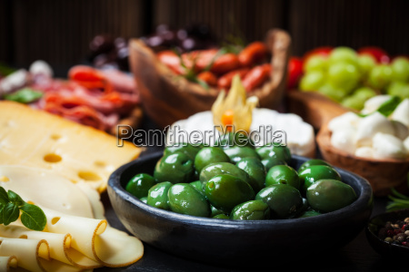 antipasto with green olives