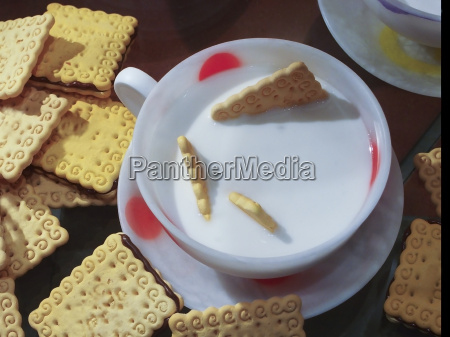 inviting breakfast with milk and