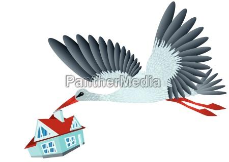 stork brings house