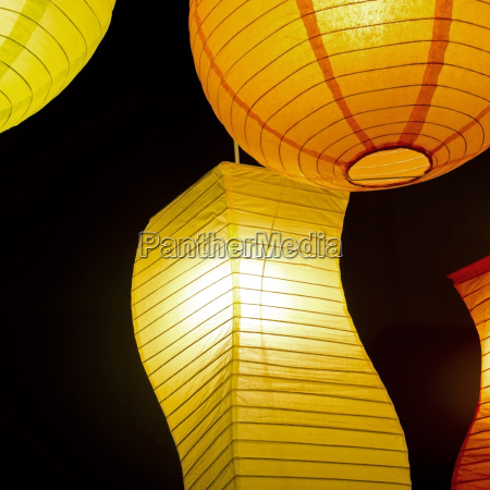 colored round paper lamp